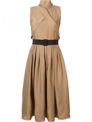 Платье с поясом Martin Grant. Цвет: коричневый