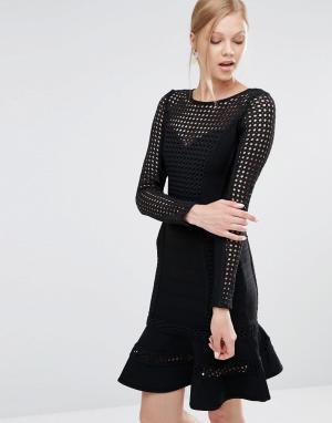 Forever Unique Бандажное платье с оборкой на подоле Silvia. Цвет: черный
