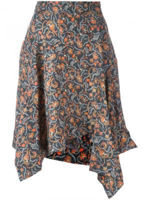 Асимметричная юбка с цветочным принтом Isabel Marant. Цвет: синий