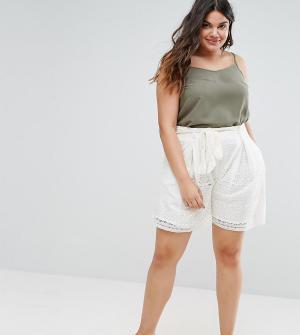 Elvi Белые широкие кружевные шорты. Цвет: белый