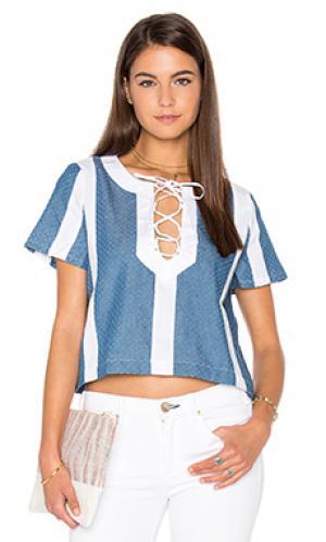 Текстурированный джинсовый топ Lucca Couture. Цвет: синий