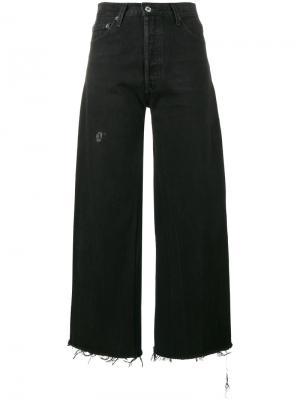 Укороченные широкие брюки Re/Done. Цвет: чёрный