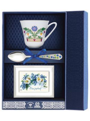 Набор чайный Сад - Замоскворечье  (чашка + ложка 925 пр. рамка для фото футляр) АргентА. Цвет: белый, серебристый