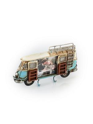 Фоторамка-ключница Автобус синий 6х7см PLATINUM quality. Цвет: синий