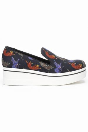 Туфли-скейты Stella McCartney. Цвет: черный, принт кошки