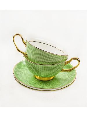 Подарочный чайный набор Жасмин на 2 персоны Русские подарки. Цвет: белый, зеленый, золотистый