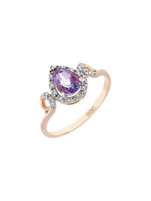 Кольцо с аметистом и фианитом Магия Золота. Цвет: золотистый