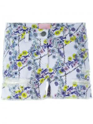 Джинсовые шорты с цветочным принтом Giamba. Цвет: розовый и фиолетовый