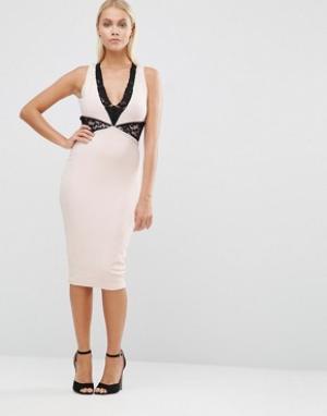 Hedonia Платье-футляр с кружевной вставкой. Цвет: розовый