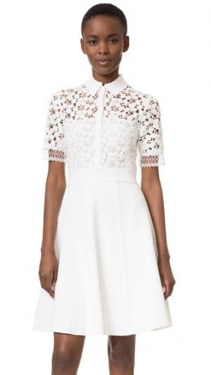 Платье-рубашка из кружева и трикотажа Lela Rose. Цвет: белый