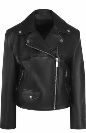 Укороченная кожаная куртка с косой молнией Helmut Lang. Цвет: черный