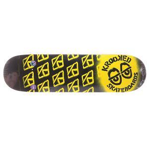 Дека для скейтборда  Pp Diffused L Yellow 32 x 8.1 (20.6 см) Krooked. Цвет: желтый,черный