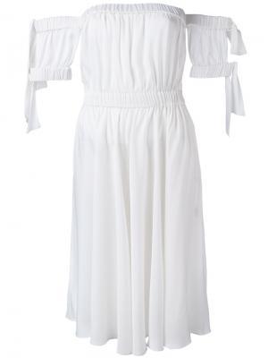 Расклешенное платье с открытыми плечами Milly. Цвет: белый