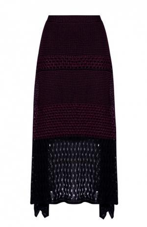 Асимметричная вязаная юбка с боковыми разрезами Proenza Schouler. Цвет: бордовый
