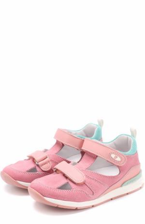 Замшевые сандалии с застежками велькро и отделкой из кожи Falcotto. Цвет: розовый