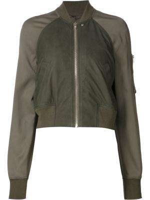 Укороченная куртка-бомбер Rick Owens. Цвет: зелёный