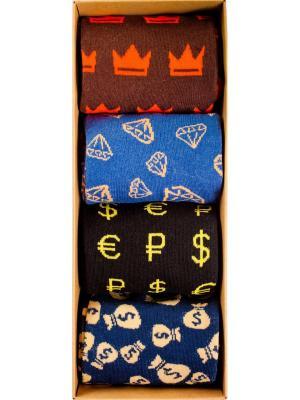 Набор Твердая валюта (4 пары в коробке), дизайнерские носки SOXshop. Цвет: черный, синий, темно-коричневый