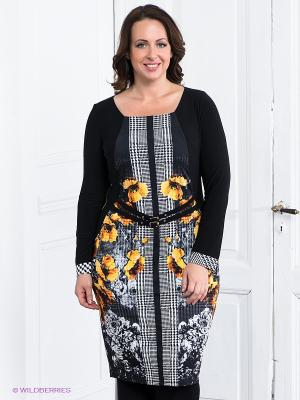 Платье Gemko plus size. Цвет: черный, белый