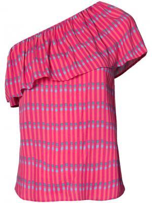 Полосатый топ на одно плечо Vanessa Seward. Цвет: розовый и фиолетовый