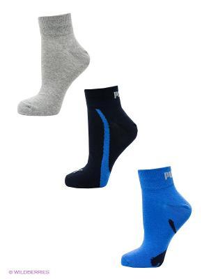 Носки Puma Lifestyle Quarters 3P. Цвет: синий, серый, голубой