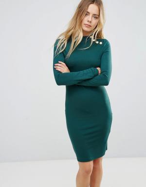 Brave Soul Платье с длинными рукавами и золотистыми пуговицами. Цвет: зеленый
