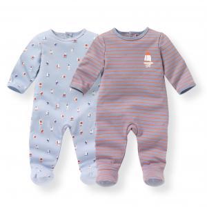 Комплект из 2 пижам хлопка 0 мес-3 лет R mini. Цвет: синий + в полоску