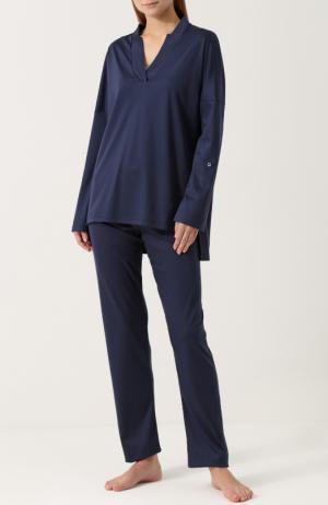 Хлопковая однотонная пижама Zimmerli. Цвет: темно-синий