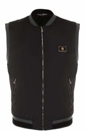 Жилет на молнии с воротником-стойкой Dolce & Gabbana. Цвет: черный