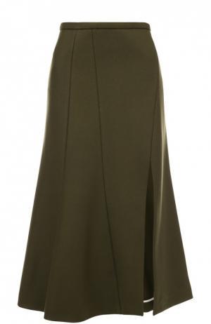 Расклешенная юбка-миди с высоким разрезом Rochas. Цвет: зеленый