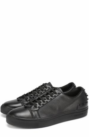 Кожаные кеды на шнуровке с декоративной отделкой Neil Barrett. Цвет: черный