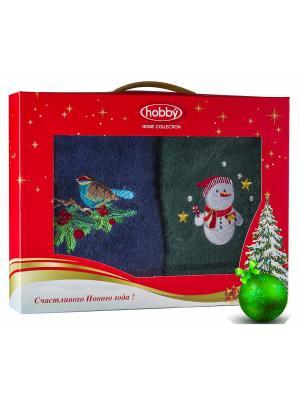 Махровое полотенце в коробке 50х90*2 Новый год, V4 HOBBY HOME COLLECTION. Цвет: синий, зеленый