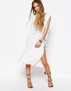 Pitusa Платье с плетеной отделкой. Цвет: белый