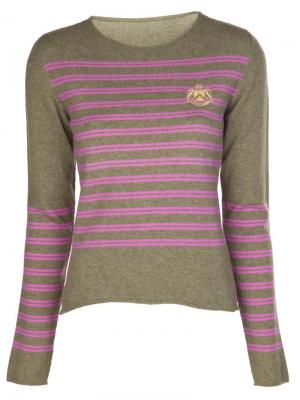 Prep stripe embroidered sweater Lucien Pellat Finet. Цвет: зелёный