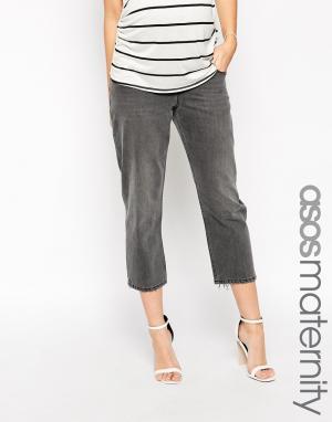 ASOS Maternity Укороченные серые джинсы с оборванным краем Maddox Para. Цвет: серый