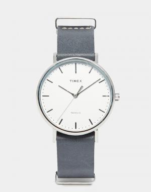 Timex Часы с черным кожаным ремешком Fairfield TW2P91300. Цвет: черный