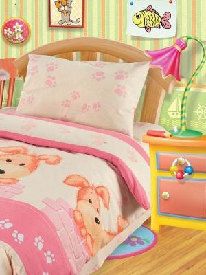 Комплект постельного белья Собачки Непоседа. Цвет: бледно-розовый