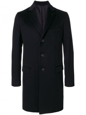 Пальто на пуговицах Hevo. Цвет: синий