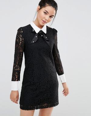 Sister jane Кружевное платье с воротником и бантиком. Цвет: черный