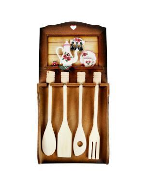 Коллаж-набор для кухонных принадлежностей Цветы Русские подарки. Цвет: светло-коричневый, белый