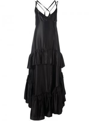 Платье  с оборками Attico. Цвет: чёрный