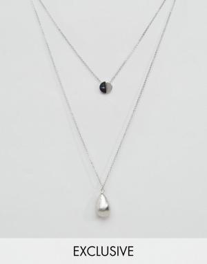 DesignB London 2 ожерелья с подвесками. Цвет: серебряный