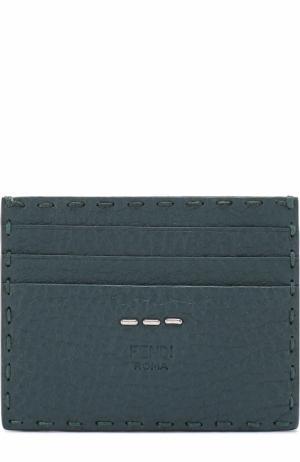 Кожаный футляр для кредитных карт Selleria Fendi. Цвет: бирюзовый