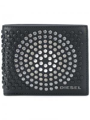 Бумажник с заклепками Diesel. Цвет: чёрный