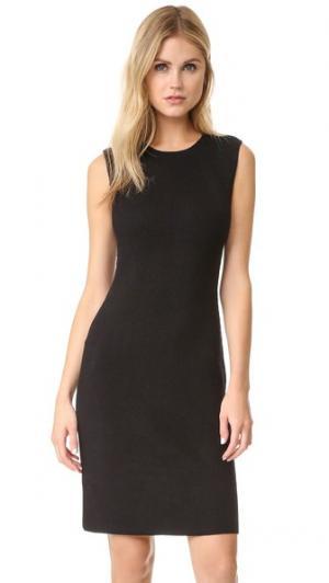 Свободное платье в складку рубчик Vince. Цвет: черный/черный