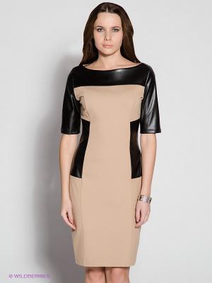 Платье Spicery. Цвет: бежевый, черный