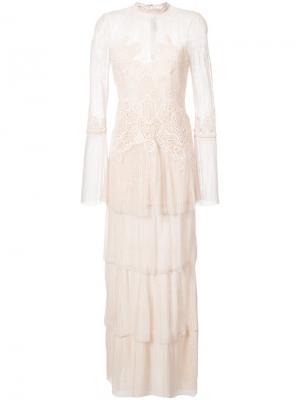 Многослойное кружевное вечернее платье Jonathan Simkhai. Цвет: розовый и фиолетовый