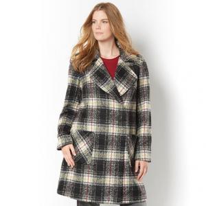 Пальто с рисунком в клетку и большим вырезом – TAILLISSIME. Цвет: в клетку серый
