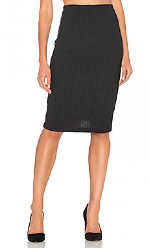 Плюшевая юбка-карандаш в рубчик Bella Luxx. Цвет: черный