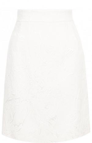 Однотонная мини-юбка из смеси хлопка и вискозы Dolce & Gabbana. Цвет: белый