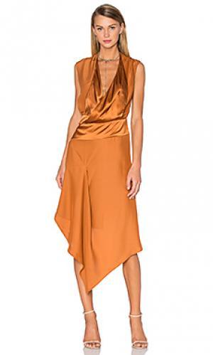 Шелковое платье bennet Acler. Цвет: коричневый